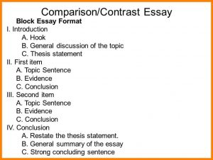 Compare and contrast essay format