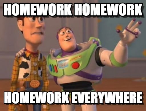 homework everywhere meme